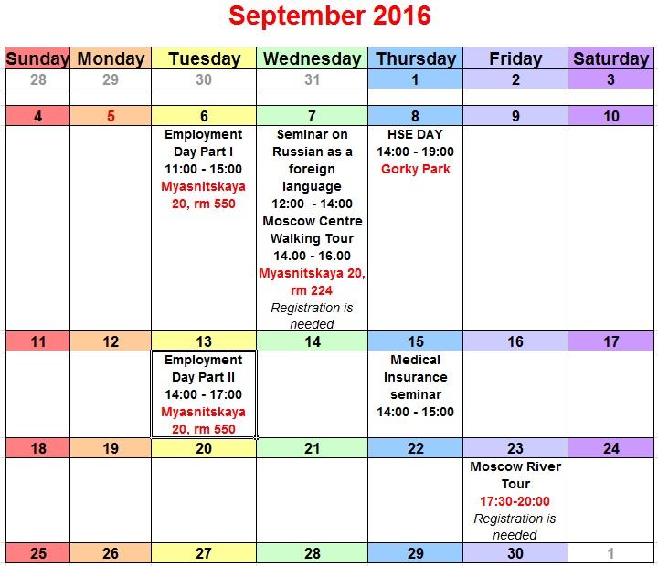 Orientation Session Calendar International Faculty Support